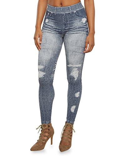 Yung & Phree Seamless Fleece Lined Denim Jean knit - Denim Leggings Petite