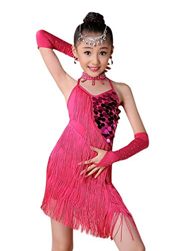 Happy Cherry Child Girls' Seamless Breathable Latin Salsa Samba Rumba Dace Dress Competition Costumes for 8-9Y Rose ()