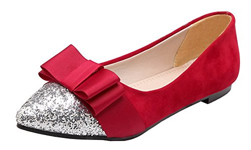 Frosted Pumps WeiPoot Shoes Heels Low Red Solid On Women's Pull XXpPwv4a