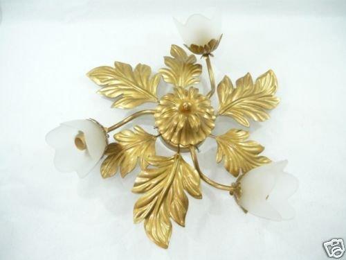 Plafoniere Con Foglie : Plafoniera in ferro battuto con foglie color oro a 3 luci boccioli e