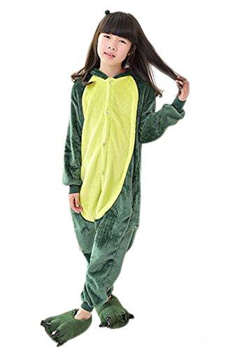 Babyonlinedress Pijama de niño de una pieza con diseño de anime sudadera de disfraz de cartoon holgado y cómodo con capucha Dinosaurio verde