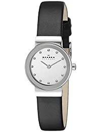 Skagen Women's 358XSSLBC Steel Collection Black Leather Glitz Watch