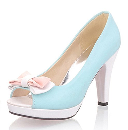 Easemax Womens Sweet Peep Toe Slip On Low Cut Chunky High Heel Pumps Shoes with Bows Blue M2aVVq