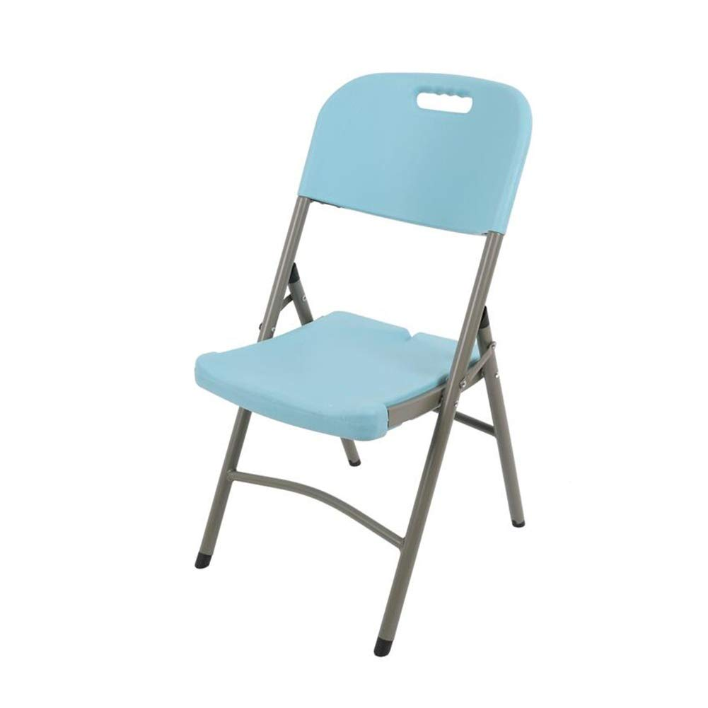 bluee FENGFAN Folding Chair Heavy Duty Plastic Camping Office Chairs Indoor Outdoor Use Folding Chair (color   White)