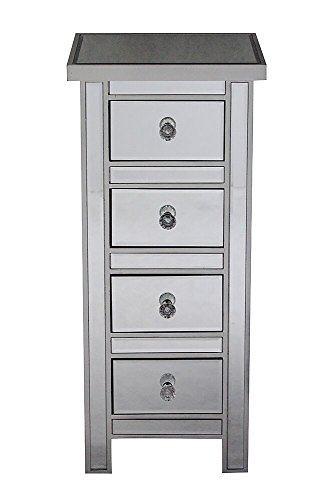 Heather Ann Creations The Emmy Collection Modern Style Mirrored 4 Drawer Bedroom Accent Jewelry Storage Cabinet, Silver ()
