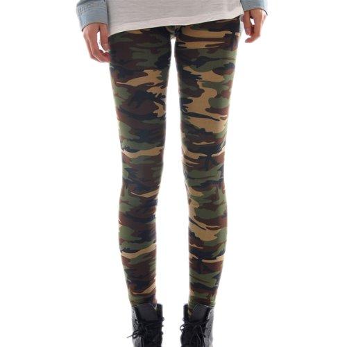 HOUSWEETY Sexy Damen Bunt Elastische Camouflage Leggings Leggins Hüfthose Hose (Bunt-E01945-DE), Haar-Aufkleber-Rosa als Geschenk