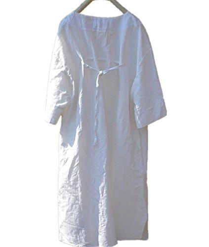 100% Linen Dress (Yesno TK9 Women Long Blouse Knee Dress 100% Linen Casual Plus Size 3/4 Bat-Wing 'V' Neck Lace on Back)