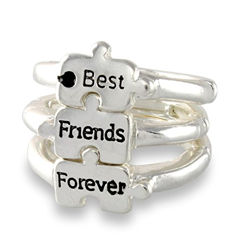 3 Best Friends Forever Puzzle Piece Silver Tone Friendship