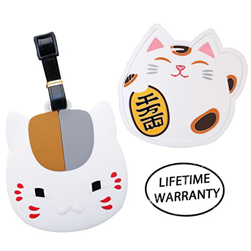 Diyjewelrydepot White Lucky Cat Head Luggage Travel Tag For Bags   Coaster For Mugs