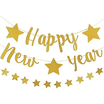 Amazon.com: Happy New Year 2020 Banner Gold Glitter | 2020 ...
