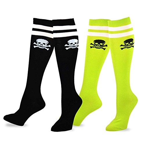 Fun Socks - Skull Varsity Pirate 2-pair Pack Cotton Knee High Socks for Junior and Women (Sock size 9-11), - High Juniors Knee Socks