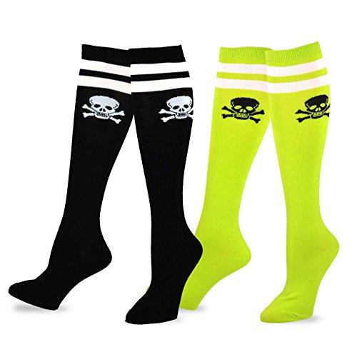 Fun Socks - Skull Varsity Pirate 2-pair Pack Cotton Knee High Socks for Junior and Women (Sock size 9-11), - Knee High Pirate