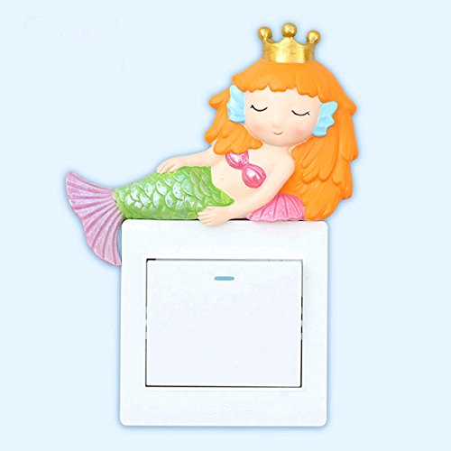 Bedroom Cover Outlet (Coolfire Handmade Mermaid Kids Room Decor Outlet Light Switch Wall Plate Cover Decal Sticker for Kids Bedroom Playroom Nursery (Mermaid, type4))