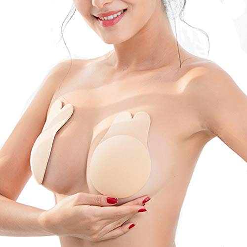 Coco's Wardrobe Adhesive Bra, Breast Lift Tape Silicone Push up Bras for Women, Backless Tape Strapless Reusable Sticky Bra, Bonus One Pair Nippleless Covers Nude