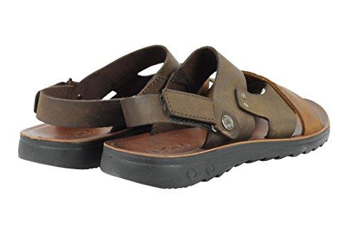 para Estilo de Marrón marrón romano Zapatillas abierta Punta Caminar hombre cruzada Playa Café cuero Correa Sandalias xTUw4TE