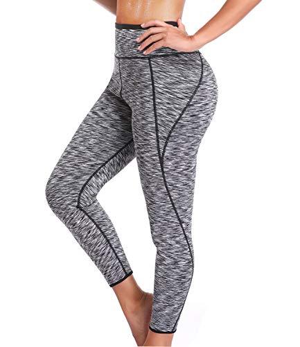 SEXYWG Women Hot Thermo Slimming Sweat Sauna Pants Neoprene Yoga Legging Shaper for Weight Loss Gray