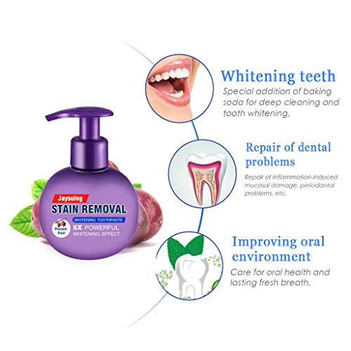 Whitening Toothpaste, Alonea Removal Stain Whitening Intensive Toothpaste Fight Bleeding Gums Toothpaste (Purple)