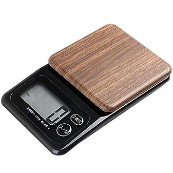 Cocina- Báscula electrónica Báscula de Cocina Básculas de Cereales de Madera Báscula de pesaje de la balanza de la balanza electrónica (Color : Deep Wood ...