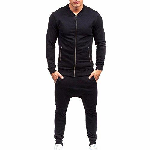 2 Funny Womens Tracksuit - HOT ! YANG-YI Mens Tracksuit Warm Fleece Sport Hooded Sweatshirt Set Coat Hoodies+Pants (Black, 2XL)