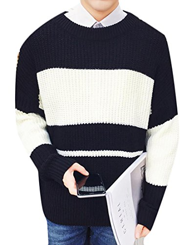 XiaoTianXin-men clothes XTX Mens Plus Size Casual Striped Loose Knit Pullover Sweater Black US L