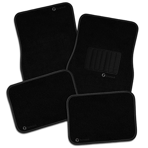 Zone Tech All Weather Carpet Vehicle Floor Mats- 4-Piece Black Premium Quality Carpet Vehicle Floor Mats Plus Vinyl Heel Pad for Additional Protection - Driver Seat, Passenger Seat and Rear Floor (Embroidered Mat Standard)