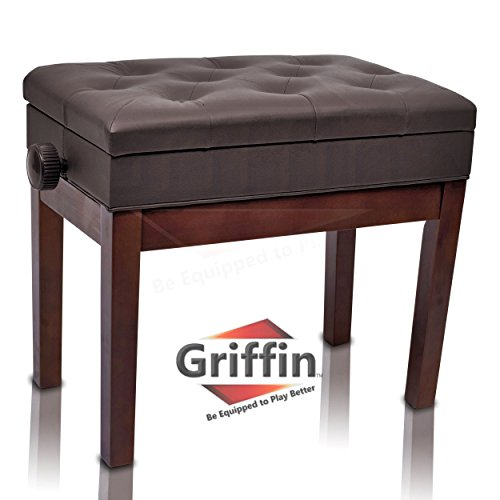 Adjustable Piano Brown Leather Bench by Griffin - Vintage Stylish Design, Heavy-Duty & Ergonomic Keyboard Stool, Comfortable Seat & Convenient Hidden Storage Space, Perfect For Home & Professional Use -