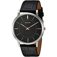 Bulova Men's Stainless Steel Analog-Quartz Watch with Leather Strap