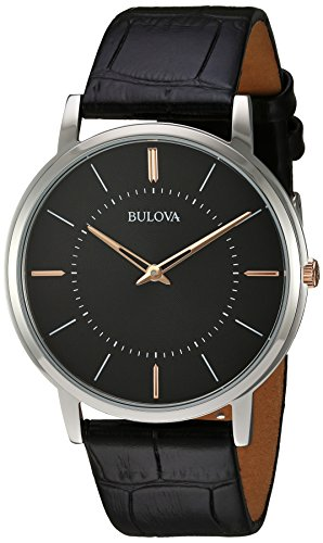 Bulova Men's Quartz Stainless Steel and Leather Casual Watch, Color Black (Model: 98A167)