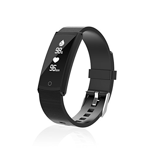 Dynamic Firewall - Kassica Blood Pressure Smart Bracelet IP68 Waterproof Sports Fitness Tracker with Heart Rate Monitor Blood Pressure Oxygen Weather Forecast Pedometer Anti Lost Smart Wristband for Android IOS (Black)
