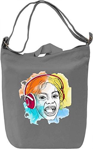 Girl with Headphones Borsa Giornaliera Canvas Canvas Day Bag| 100% Premium Cotton Canvas| DTG Printing|