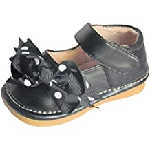 Squeaky Shoes Toddler Girls Black Leather Bow Shoes