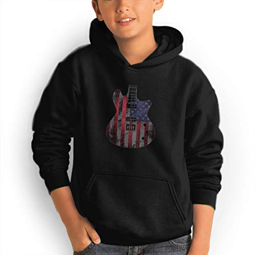 Shenhuakal Youth Hoodies Guitar Flag USA Ggirl%Boy Sweatshirts Pullover with Pocket Black 32 by Shenhuakal