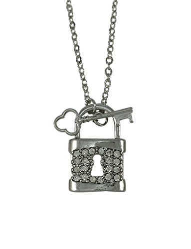Key and Lock Crystal Charm Toggle Necklace, Silver Plated 17-Inch-Long Great for Layering (Lock And Key Costume)