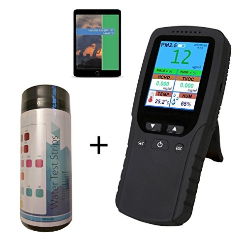 Air Quality Pollution Monitor, Formaldehyde Detector, Meter, Sensor, Tester; Detect PM2.5 Micron Dust Particulate Matter, Test Indoor TVOC Volatile Organic Compound Gas; Water Test Strip Kit & eBook