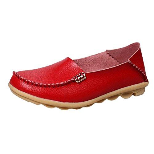 Heheja Mujer Mocasines Ocio Piso Zapatos Comodidad Zapatos de Conducción Rojo