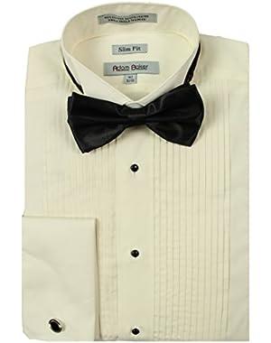 Men's Slim Fit Wingtip Collar French Cuff Formal Tuxedo Shirt (Bowtie & Cufflinks Included)
