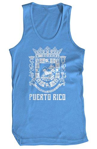 Amdesco Men's Puerto Rican Coat of Arms, Puerto Rico Tank Top, Carolina Blue Medium
