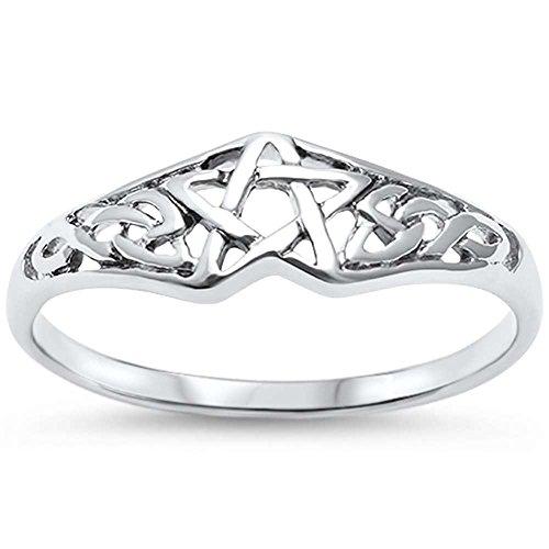Sterling Silver Pentagram Celtic Star Ring Sizes 5