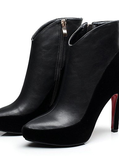 Semicuero us8 Botas Casual Moda us6 Mujer De Uk4 Vellón A Vestido Zapatos La Xzz Puntiagudos Red negro Stiletto Black Plataforma Cn36 Eu36 Cn39 Tacón Eu39 Uk6 T6v70q