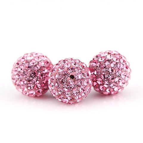 (10 PSC 10mm Light Rose Swarovski Crystal Loose Spacer Bead Pave Disco Ball)