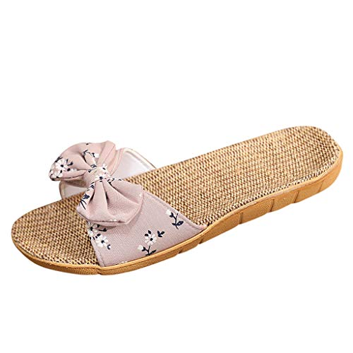 ✔ Hypothesis_X ☎ Women's Bohemia Bowknot Flax Sandals Slipper Casual Open Toe House Slipper Sandals Beach Shoes ()