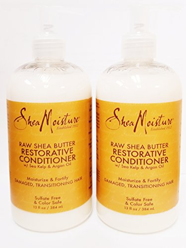 Shea Moisture Raw Shea Butter Restorative Conditioner w/ Sea kelp & argan Oil - Dry, Damaged Hair - Sulfate Free & Color Safe - Value Double Pack - Qty of 2 Each (Calm Moisture)