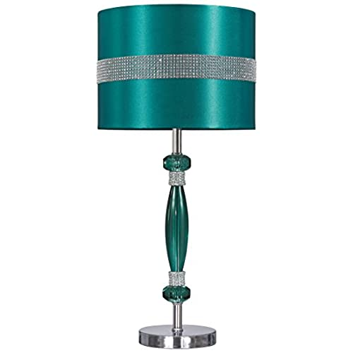Signature Design By Ashley L801644 Acrylic Table Lamp, Teal/Silver Finish