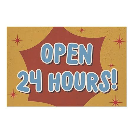 CGSignLab Victorian Card Window Cling 5-Pack Open 24 Hours 24x24