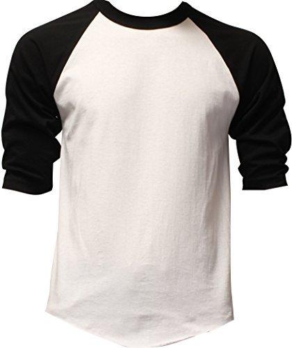 (DealStock Casual Raglan Tee 3/4 Sleeve Tee Shirt Jersey White/Black)