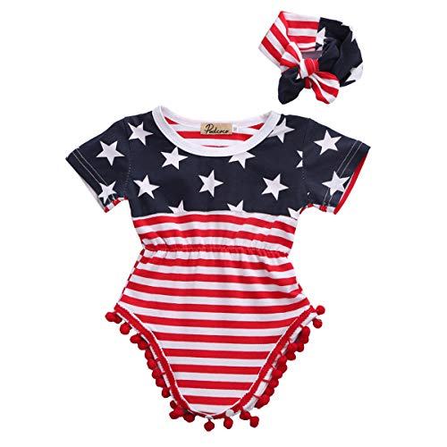 Newborn Baby Girl My First 4th of July Outfits USA Flag Stars Stripes Tassel Romper+Headband (0-3 Months, Red)
