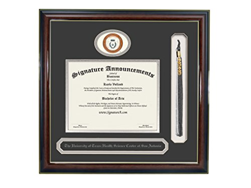 Texas San Antonio Seal (Signature Announcements University-of-Texas-Health-Science-Center-At-San-Antonio Undergraduate Sculpted Foil Seal, Name & Tassel Diploma Frame, 20 x 20, Gloss Mahogany w/Gold Accent)