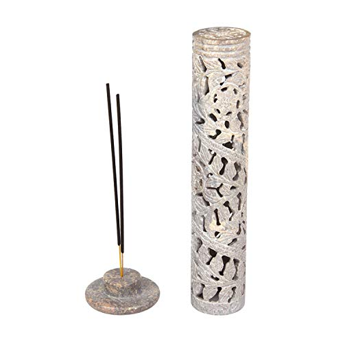 Aheli Beautiful Floral Crafted Incense Burner Holder Stone Tower for Stick Home Office Decor (Incense Stone Tower)