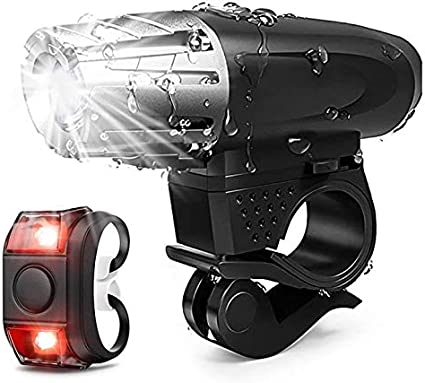 USB Rechargeable Bright LED Bicycle Bike Front Headlight and Rear Tail Light Kit