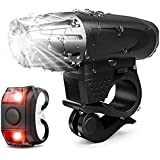 USB Rechargeable Bike Lights Front and Back,4000 Lumens Super Bright Bike Headlight 3 LED,9 Modes Light Runtime 15…